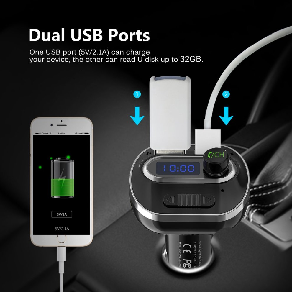 Bluetooth Car Transmitter, VicTsing FM Transmitter Car MP3 Player Bluetooth  Radio Transmitter, Universal Car Charger with Dual USB Charging Ports,