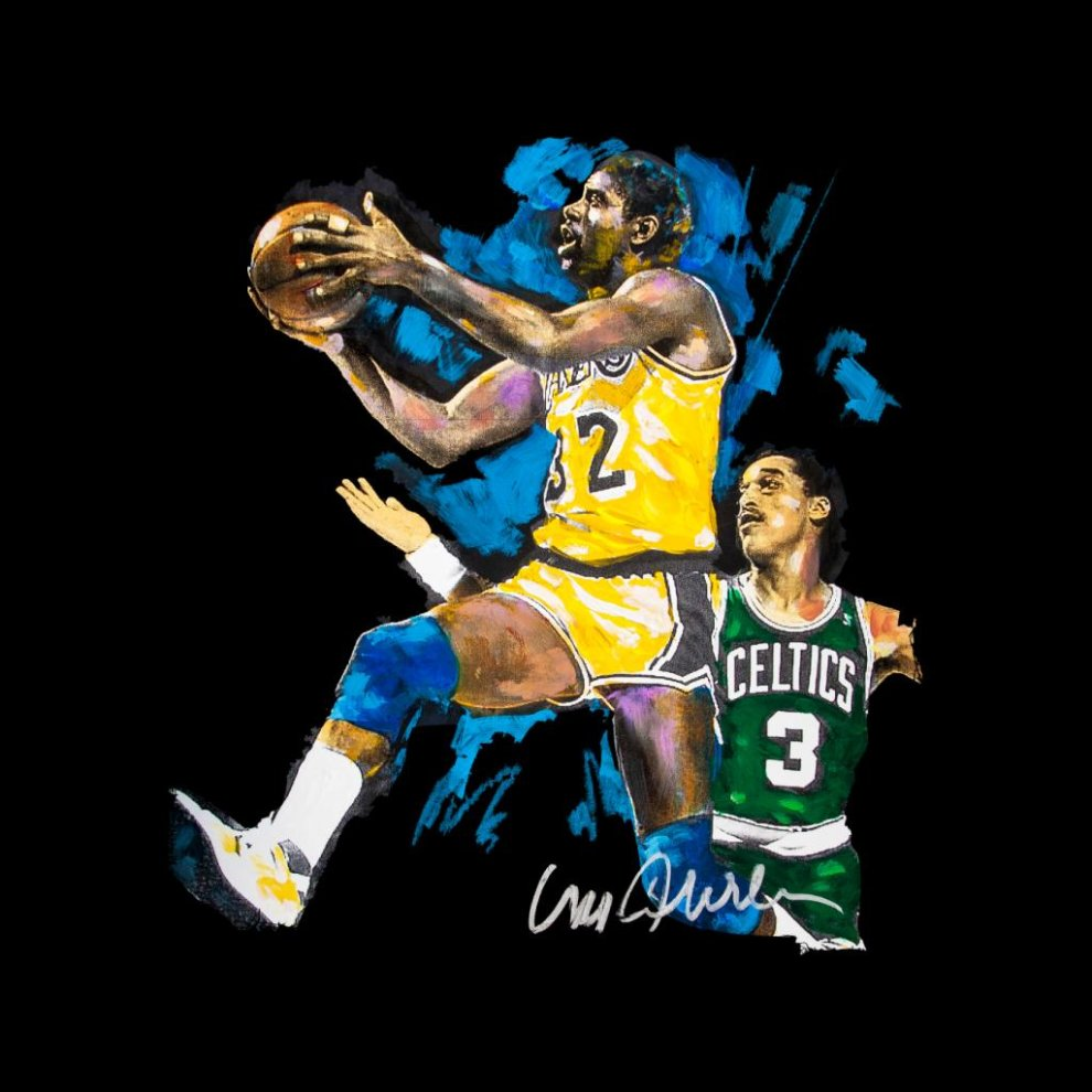 5f5f514bba67 ... Sidney Maurer Original Portrait Of Magic Johnson Lakers Vs Celtics Men s  Varsity Jacket ...