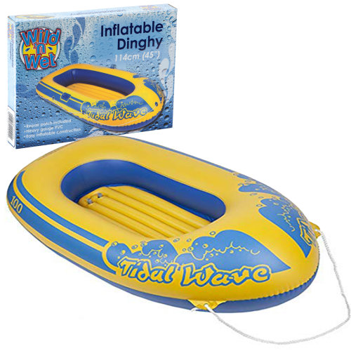 "Wild N Wet Tidal Wave Kids Fun Beach Toy Dinghy Inflatable Boat Raft Dinghy 45"" (114cm)"