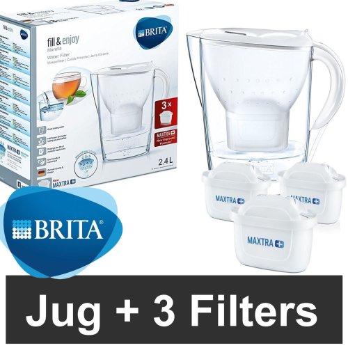 BRITA Marella Cool MAXTRA+ Plus 2.4L Water Filter Jug + 3 Month Cartridges Pack