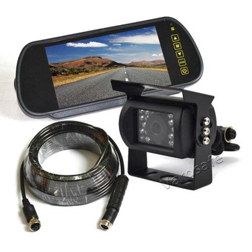 Vardsafe Parking Reverse Backup Camera + 7 Inch Clip-on Mirror Monitor for RV Motorhome Tractor Trailer Truck Bus