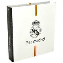 Real Madrid - Lever Arch File Logo (in A5) - Official Licensed Cardboard Ring -  official licensed real madrid cardboard ring binder folder football