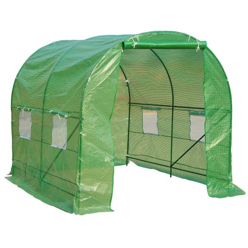 Outsunny Walk in Polytunnel Garden Greenhouse w/ Windows and Doors (2.5 x 2M)