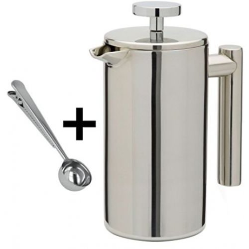 Kabalo Stainless Steel Double Wall Cafetiere Filter/Plunger Coffee & Tea Maker - 1000ml 8 Cups