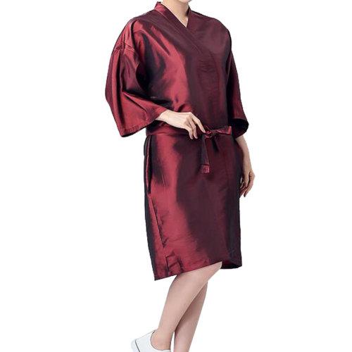 Professional Hair Salon Cape Waterproof SPA Kimono Bath Robe-Red