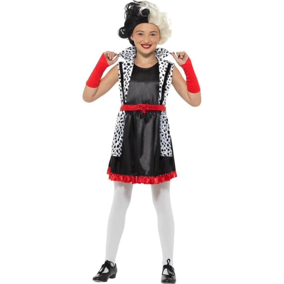 Cruella Deville Evil Little Madame Costume,Girls Fancy Dress,Large Age 10,12