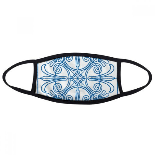 Blue Talavera Style Decorative Pattern Mouth Face Anti-dust Mask Anti Cold Warm Washable Cotton Gift