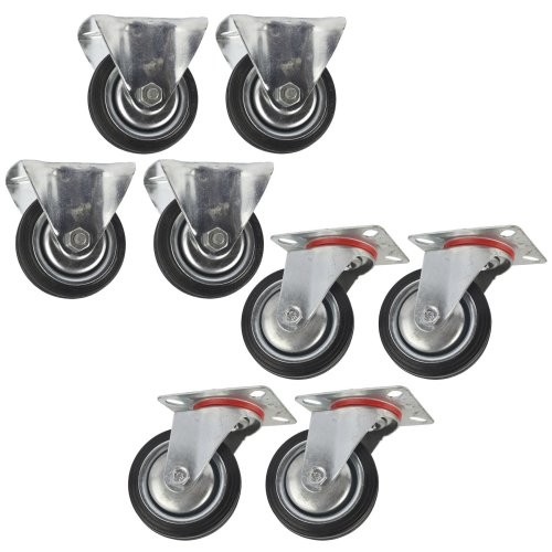"3"" (75mm) Rubber Fixed and Swivel Castor Wheels Trolley Caster (8 Pack) CST01_02"