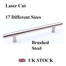 T-BAR HANDLE BRUSHED STEEL KITCHEN CABINET DRAWER CUPBOARD WARDROBE BEDROOM [168 mm overall length, Brushed Steel]