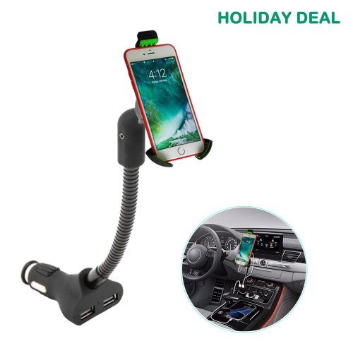 Gooseneck Cell Phone Holder For Car , Car Phone Mount ,Cigarette Car Phone Holder Charger For iPhone X 8 7 6s Plus & Galaxy S8 S7 Note 8 6 5 4 and...