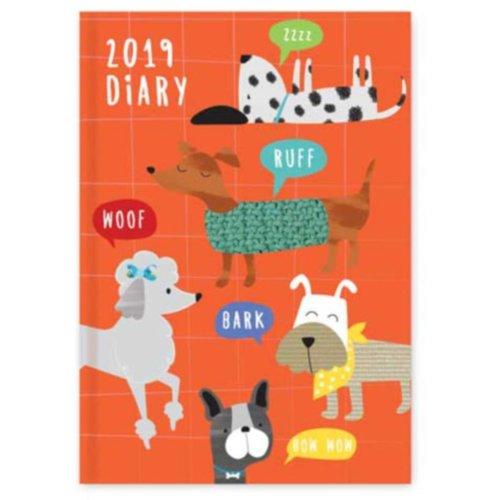 2019 A6 Week To View Diary Dogs Hardback Home Office WTV W2V Work
