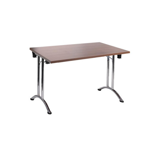 Folding Computer Desk Office Dining Table Workstation Wallnut Top Chrome Frame 120x80cm