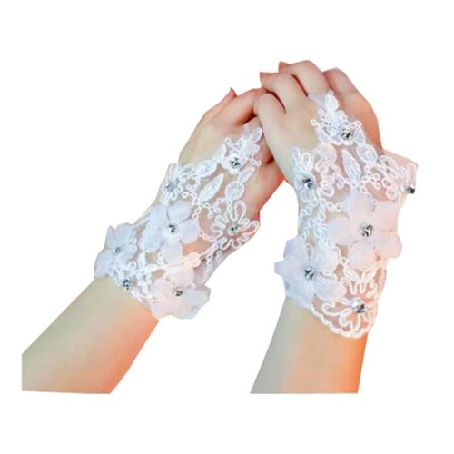 Women's Elegant Lace Fingerless Gloves for Wedding Party Brides Accessory - F