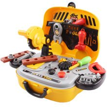deAO Toys Deluxe Tool Work Bench Mini Carry Case Portable Role Play Set with Accessories