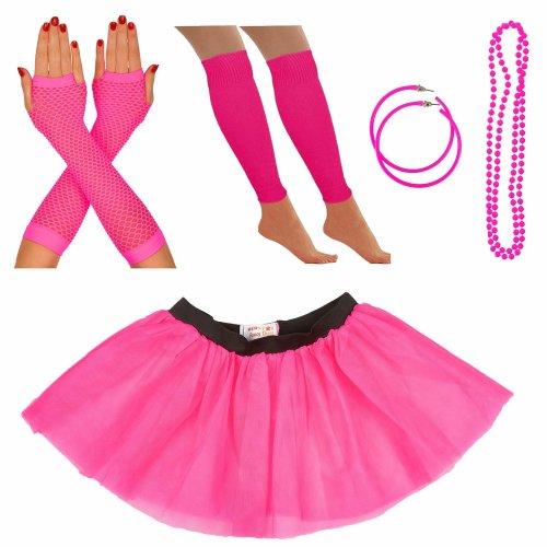 Ladies Red Sequin Tutu Skirt Beads Legwarmer Gloves Vest 1980's Hen Night Party