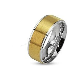Gold Plated Brushed Steel Stepped Edge Stainless Steel Band Ring