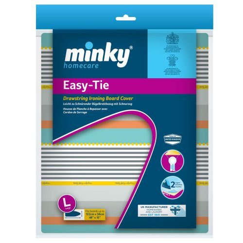 Minky Easy-Tie Drawstring Ironing Board Cover, 122 x 38cm, Multi-colour
