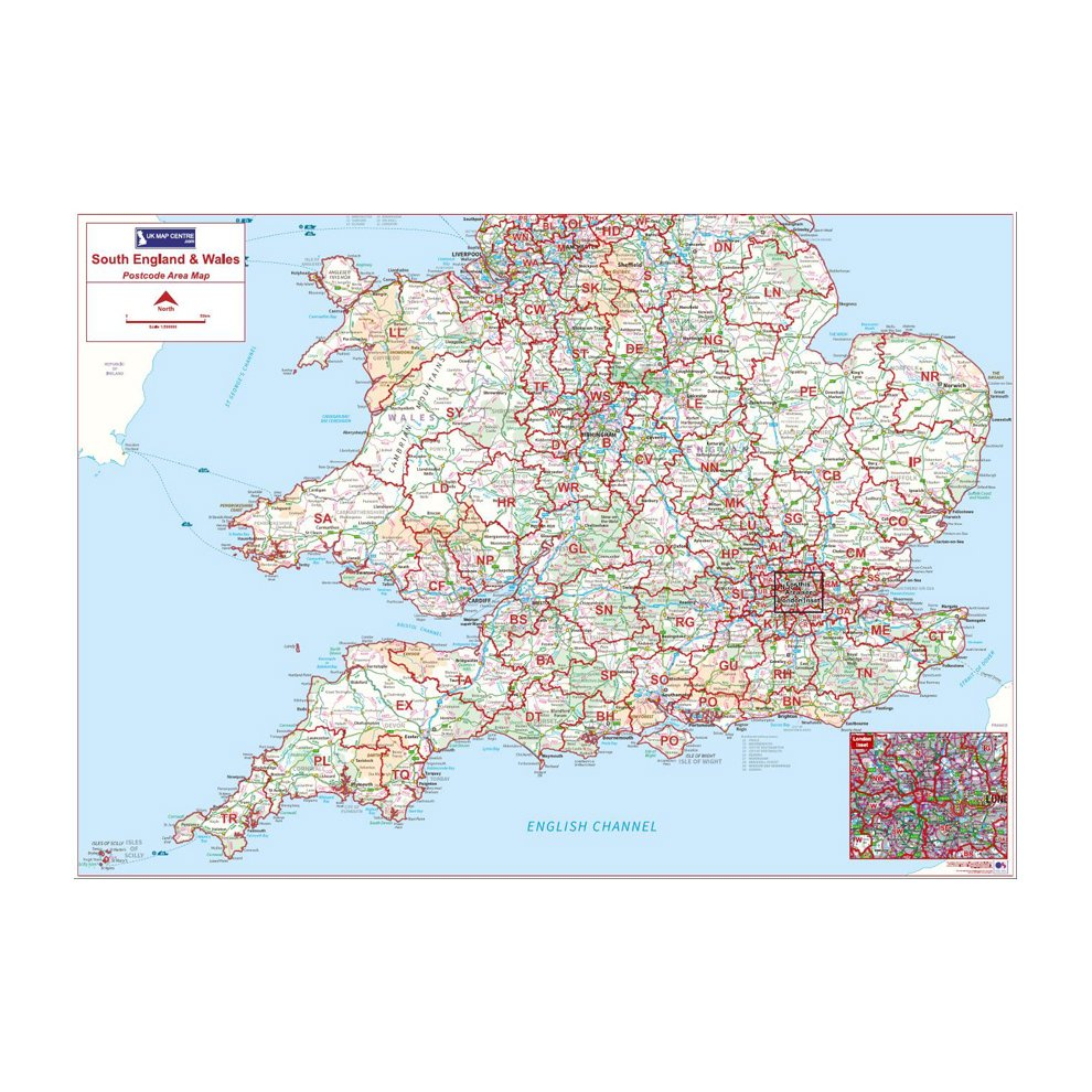 Map Of South England Uk.Postcode Area Map 4 Southern England Wales On Onbuy
