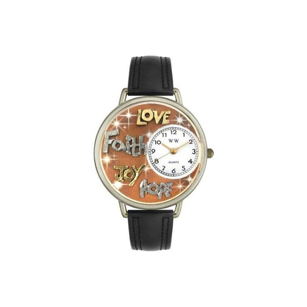 d2a1e79c6e Whimsical Watches U-0710015 Whimsical Unisex Faith Hope Love Joy Black  Leather Watch on OnBuy