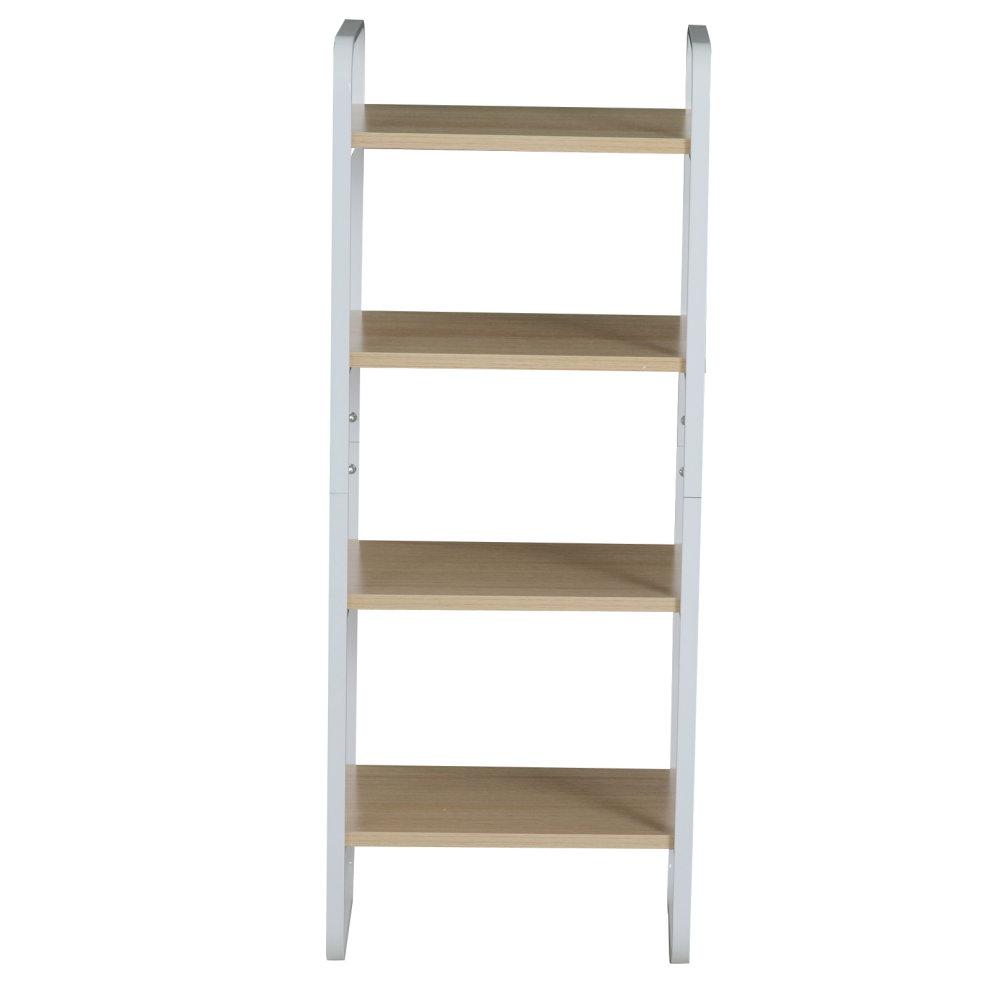 size 40 c0731 7b788 HOMCOM 4 Tier Wooden Bookshelf Steel Retro Style Storage Display Open Shelf  Rack Living Room Furniture