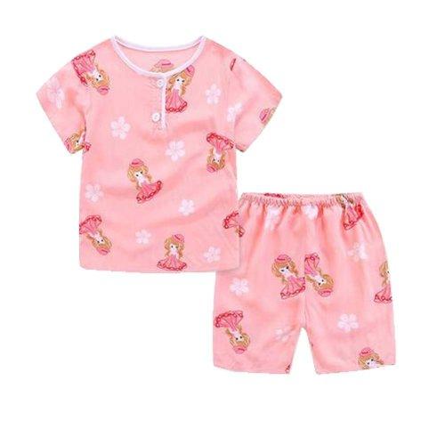 Cute Girl Cartoon Pajamas Soft Cotton Kids Summer Children Sleepwear