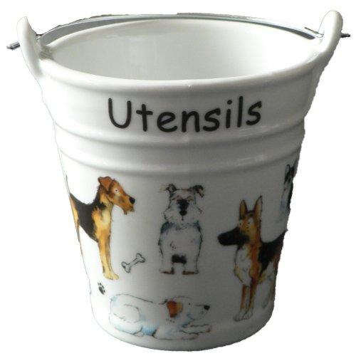 Dogs utensil holder. Fun bucket shaped ceramic utensil pot