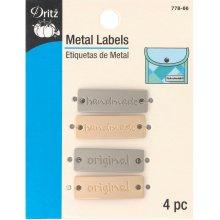 Dritz Metal Labels 4/Pkg-Gold & Nickel-Handmade & Original