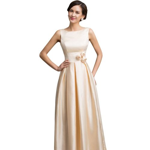 Sexy Boat Neck Champagne Flowers Elegant Evening Dresses Long 2017 New Wedding Party Dinner Formal Dress