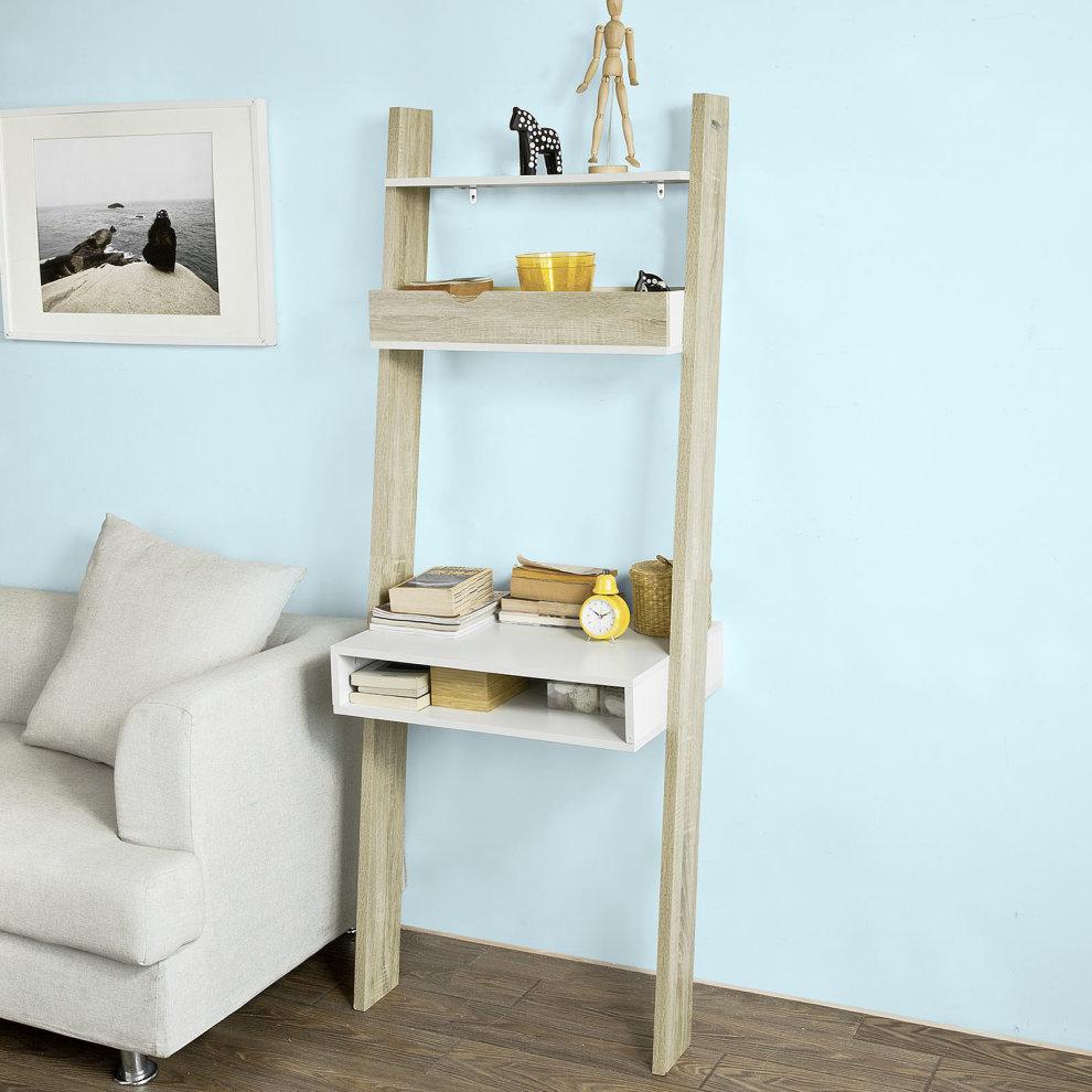 Sobuy frg111 wn ladder shelves workstation ladder desk - Escritorio para espacios pequenos ...