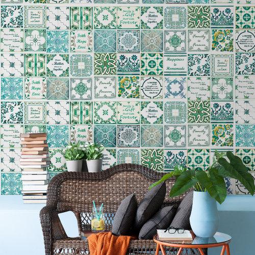 Walplus Tile Sticker English Quote Vintage Green Wall Sticker Decal (Size: 20m x 20cm @ 12pcs)