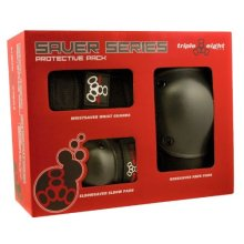 Triple 8 Saver Series Wristsavers/Kneesavers/Elbowsavers (Black, Large, 3 Pack)
