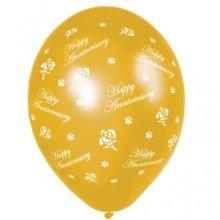 Anniversary Roses Metallic Glamorous  - Gold Printed Latex Balloon 27.5cm 2