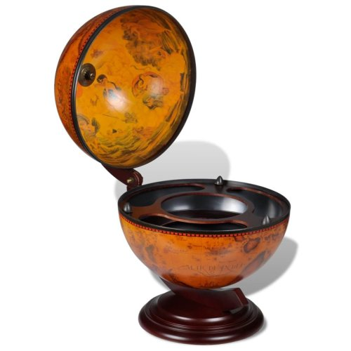 Tabletop Bar Globe with Embowed Solid Wood Stand Wine Liquor Table Stand