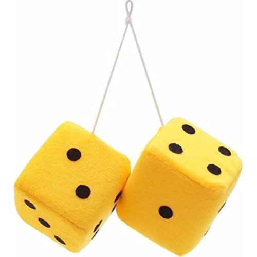 "Vintage Parts 14559 3"" Yellow Fuzzy Dice with Black Dots - Pair"