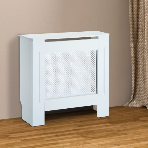 Wooden Grill Radiator Cover | White Heater Cabinet