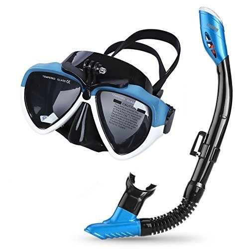 Cadrim Snorkel Set with Tempered Glass & Full-dry Top Snorkel,Anti-fog Diving Mask Panoramic Scuba Mask with Sports Camera Installable , Food-Grade...
