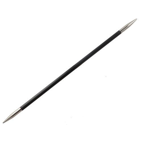 KnitPro 15 cm x 4 mm Karbonz Double Pointed Needles, Black and Silver