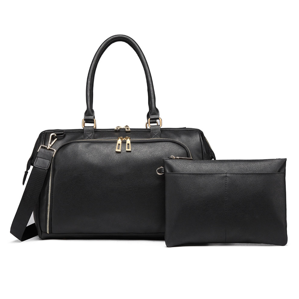 afcbecf78d8cc ... Miss Lulu 3 Pieces Baby Nappy Diaper Changing Bag PU Leather Black - 3  ...
