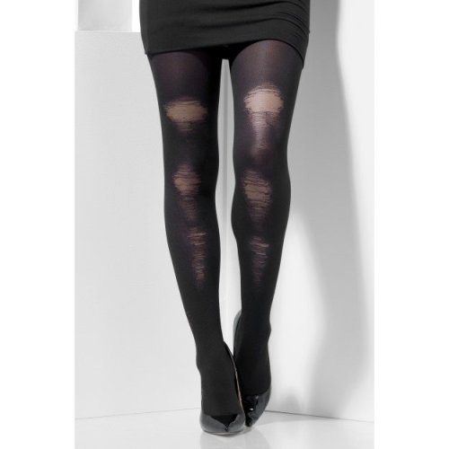 Smiffy's 44443 Fever Opaque Tights Costume (one Size) -  tights black distressed fancy dress halloween opaque ladies accessory ripped new size smiffys
