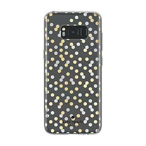 Kate Spade New York Protective Hardshell Case for Samsung Galaxy S8 - All Over Confetti Dot Clear/Gold/Silver