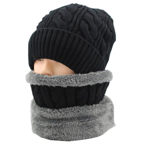 Middle-aged Men's Black Winter Cycling Keep Warm Thick Hat Scarf Set