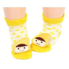 2 Pairs [Yellow Hat] Infant Toddler Socks Cotton Socks for Baby Kid, 6-18 Months