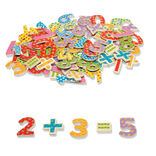 Tidlo Educational Wooden Magnetic Numbers and Symbols (100 Pieces)