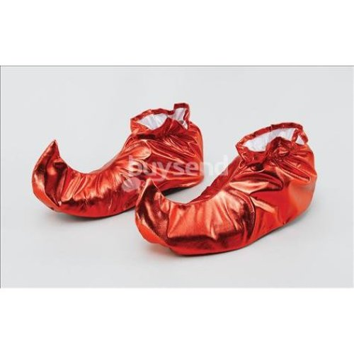 Red Metallic Adults Jester Shoe Covers -  fancy dress covers shoes jester christmas elf pixie xmas red adults mens ladies boot accessory helper