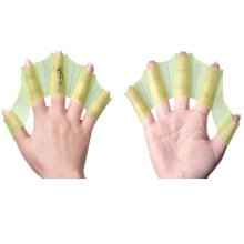 Silicone Swim Gear Fins Hand Webbed Flippers Training Glove for Adults, L,Yellow
