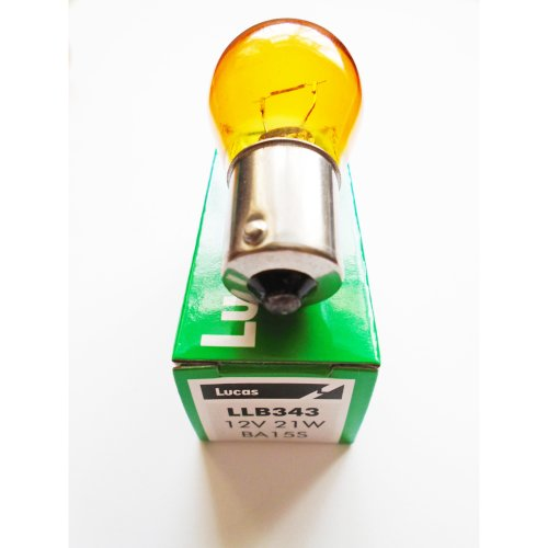 LUCAS LLB343 BA15S 382 AMBER CAR INDICATOR SIGNAL LIGHT BULB LAMP 12V 21W