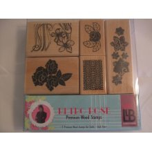 "Laurence Llewelyn Bowen ""Retro Rose"" Premium Wooden Stamp Set - Set of 5 Stamps"