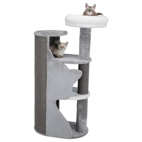 Cat Scratching Tree Tower with Silhouette Platform Bed