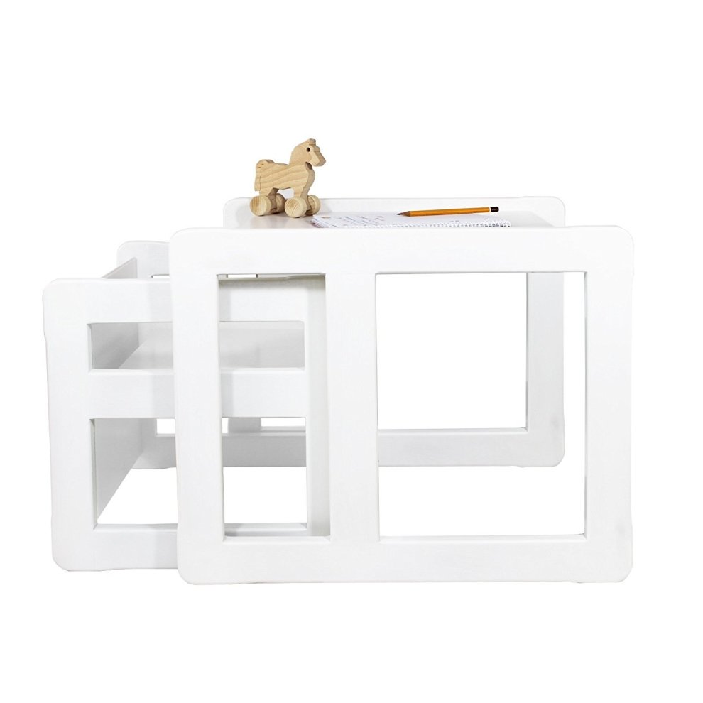 Obique Multifunctional Furniture Set Of 2 1 Chair 1 Table White