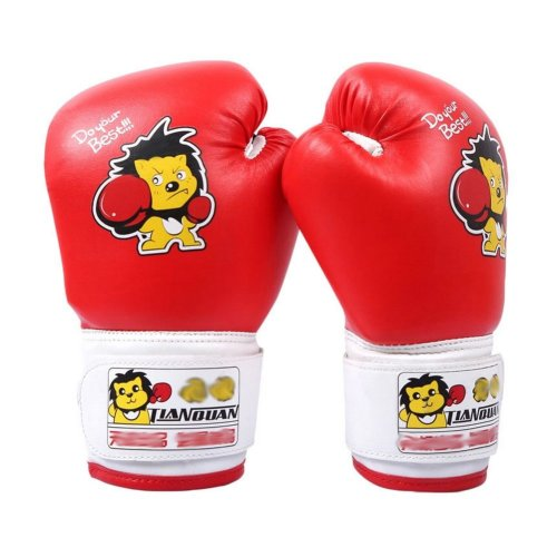 Child Boxing - Kickboxing Glove Full Finger Gloves -MMA-2----Red